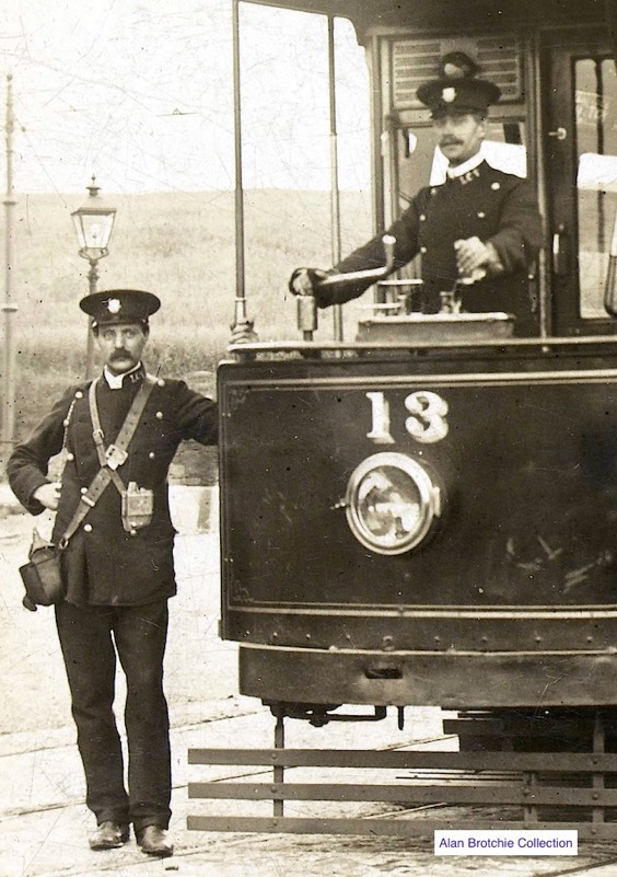 Leith Corporation Tramways Tram No 13 and crew