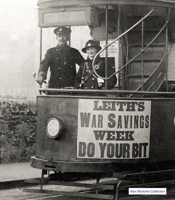 Leith Corporation Tramways conductress and motorman Great War
